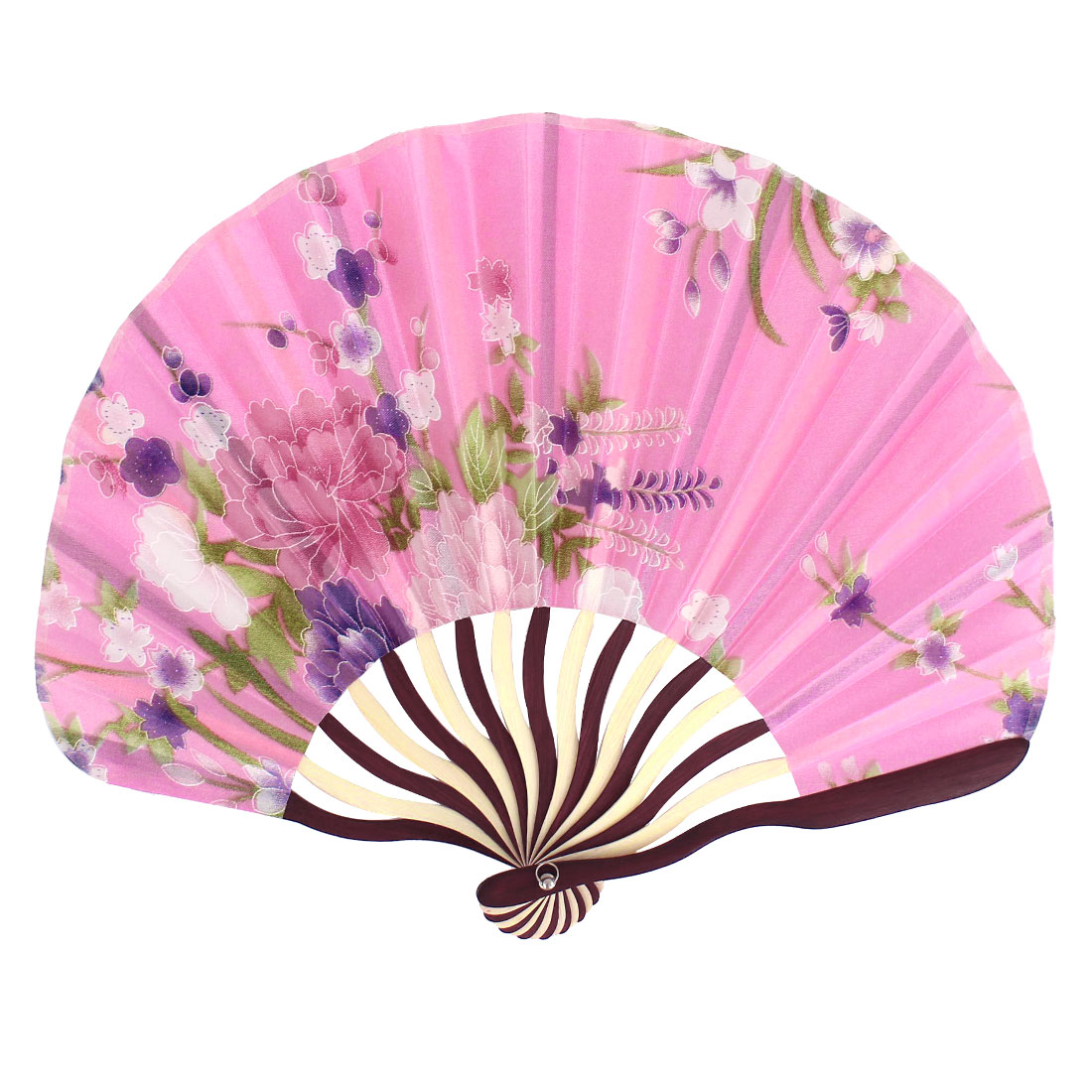 Wooden Ribs Flowers Printed Dance Wedding Party Folding Hand Fan Pink