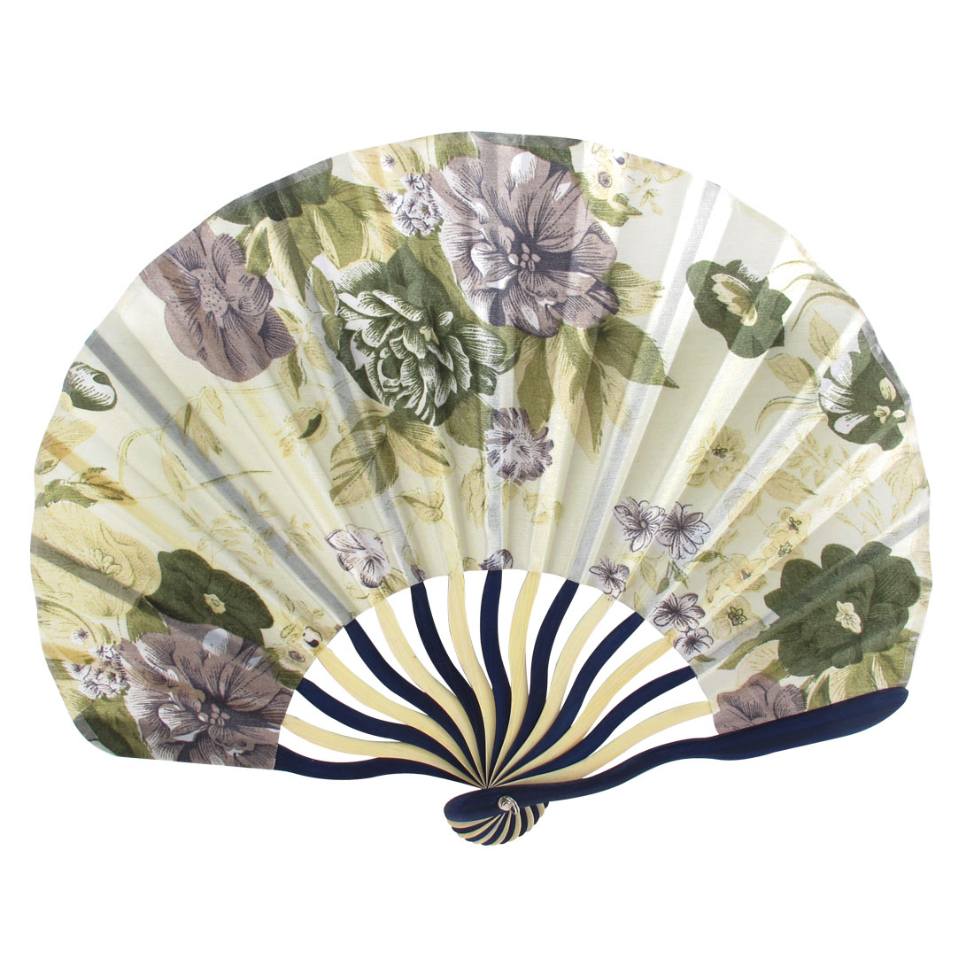Chinese Classic Style Peony Flower Fabric Bamboo Folding Dance Hand Fan Beige