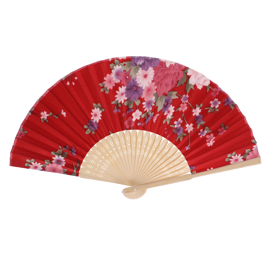 Chinese Style Flower Pattern Summer Dancing Fabric Folding Held Hand Fan Red