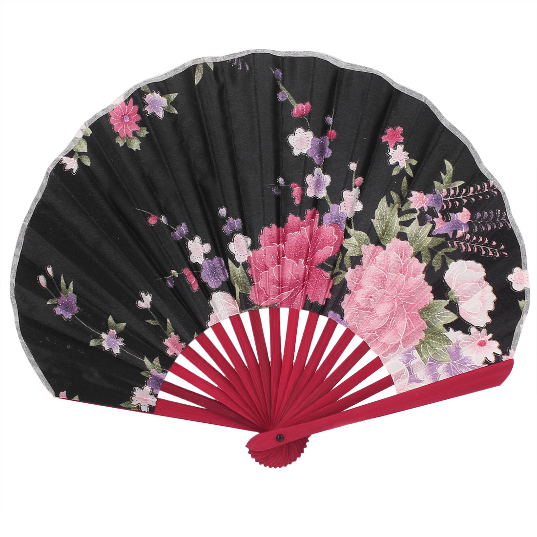 Party Decor Bamboo Ribs Fabric Blooming Flower Pattern Foldable Hand Fan Black