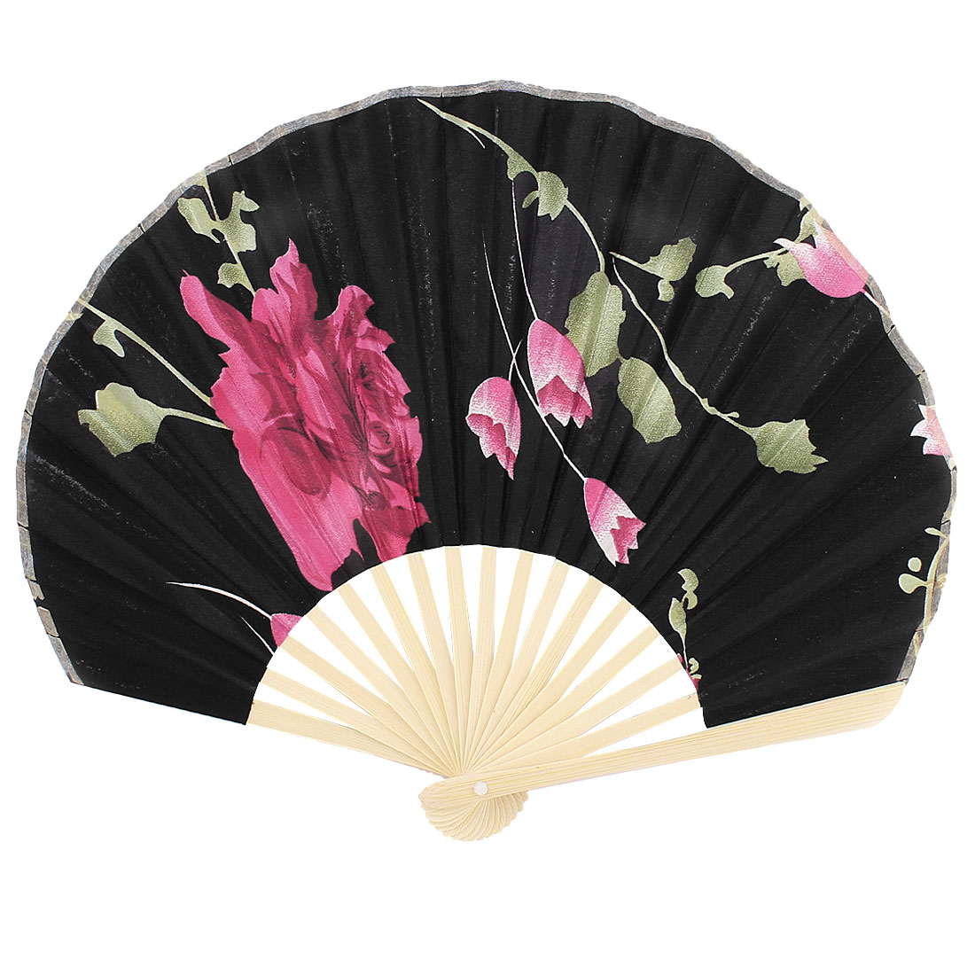 Party Ornament Bamboo Ribs Fabric Blooming Flower Pattern Folding Hand Fan Black