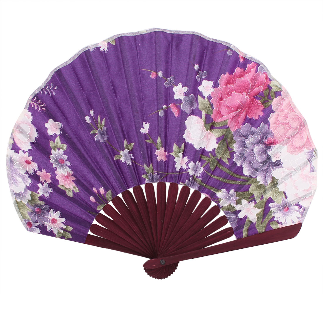 Party Decor Bamboo Frame Fabric Blooming Flower Pattern Foldable Hand Fan Purple