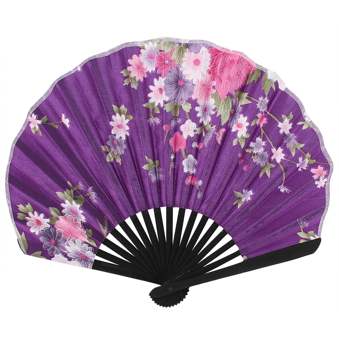 Wedding Party Decor Bamboo Frame Fabric Floral Print Folding Hand Fan Purple