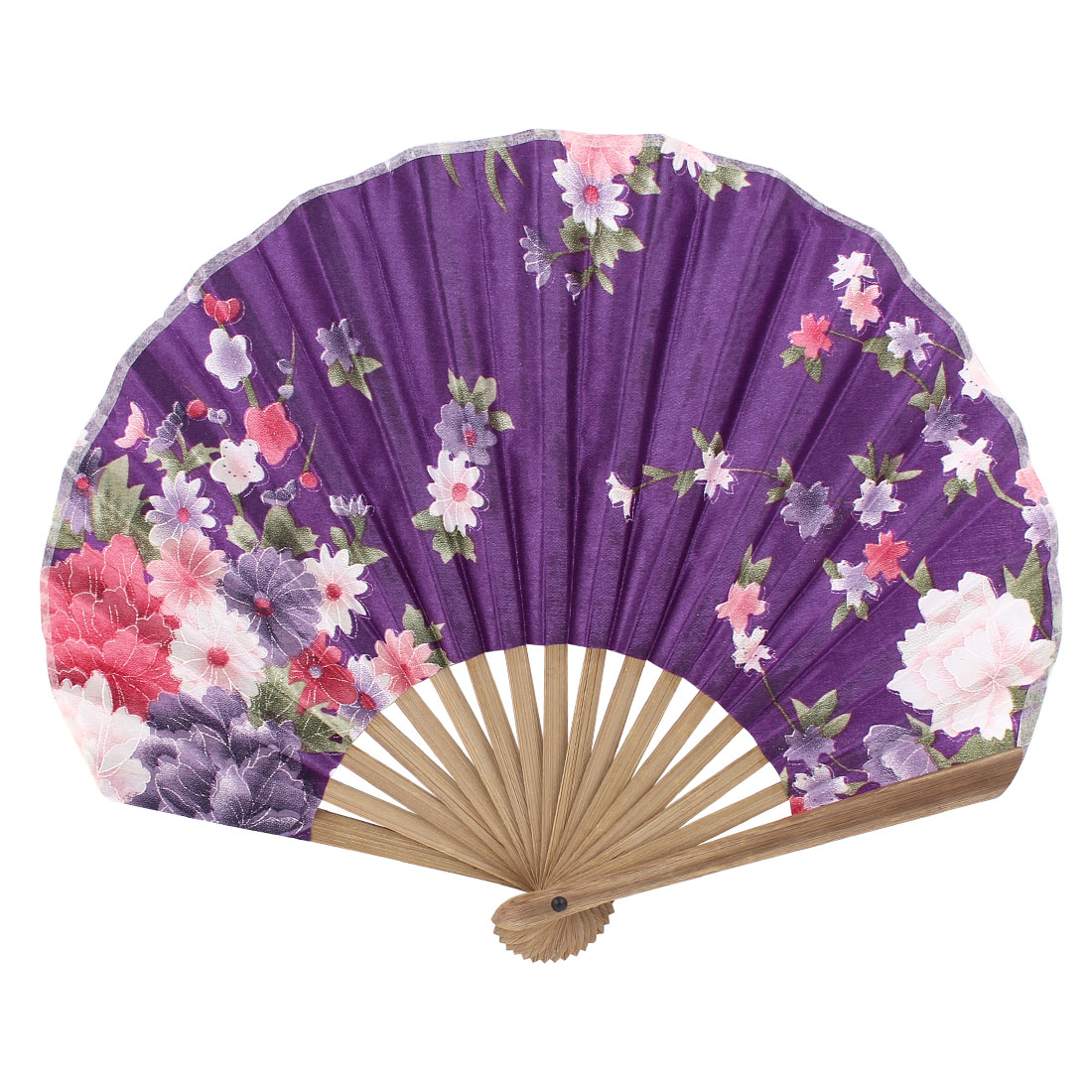 Party Decor Bamboo Frame Fabric Blooming Flower Pattern Folding Hand Fan Purple