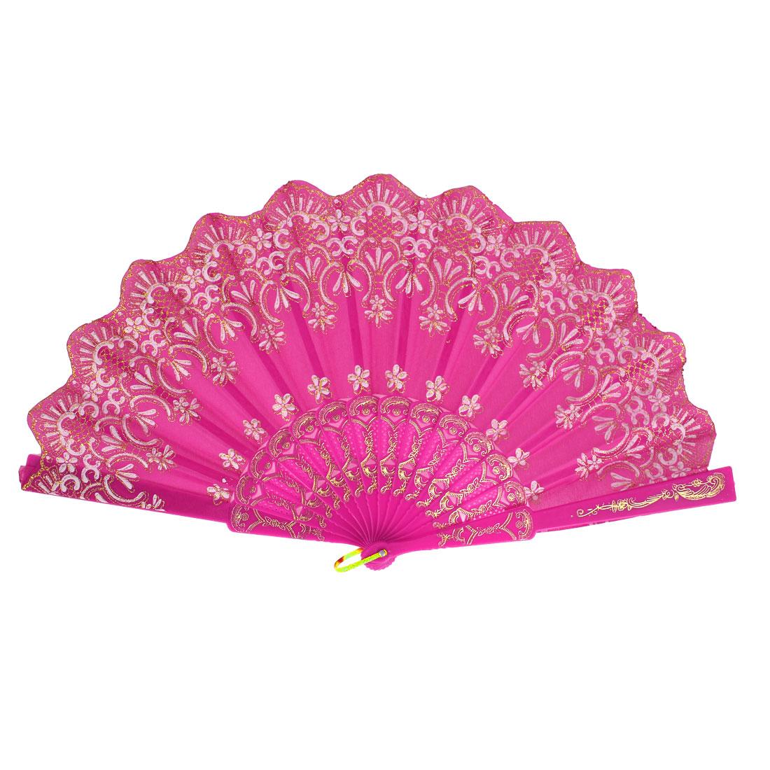 Chinese Style Bling Flower Pattern Wedding Dance Nylon Folding Hand Fan Fuchsia