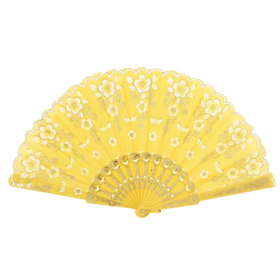 Wedding Party Ornament Glitter Powder Flower Pattern Folding Hand Fan Yellow