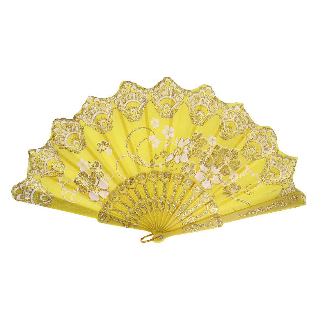Glitter Powder Decor Flower Pattern Wedding Dance Nylon Folding Hand Fan Yellow