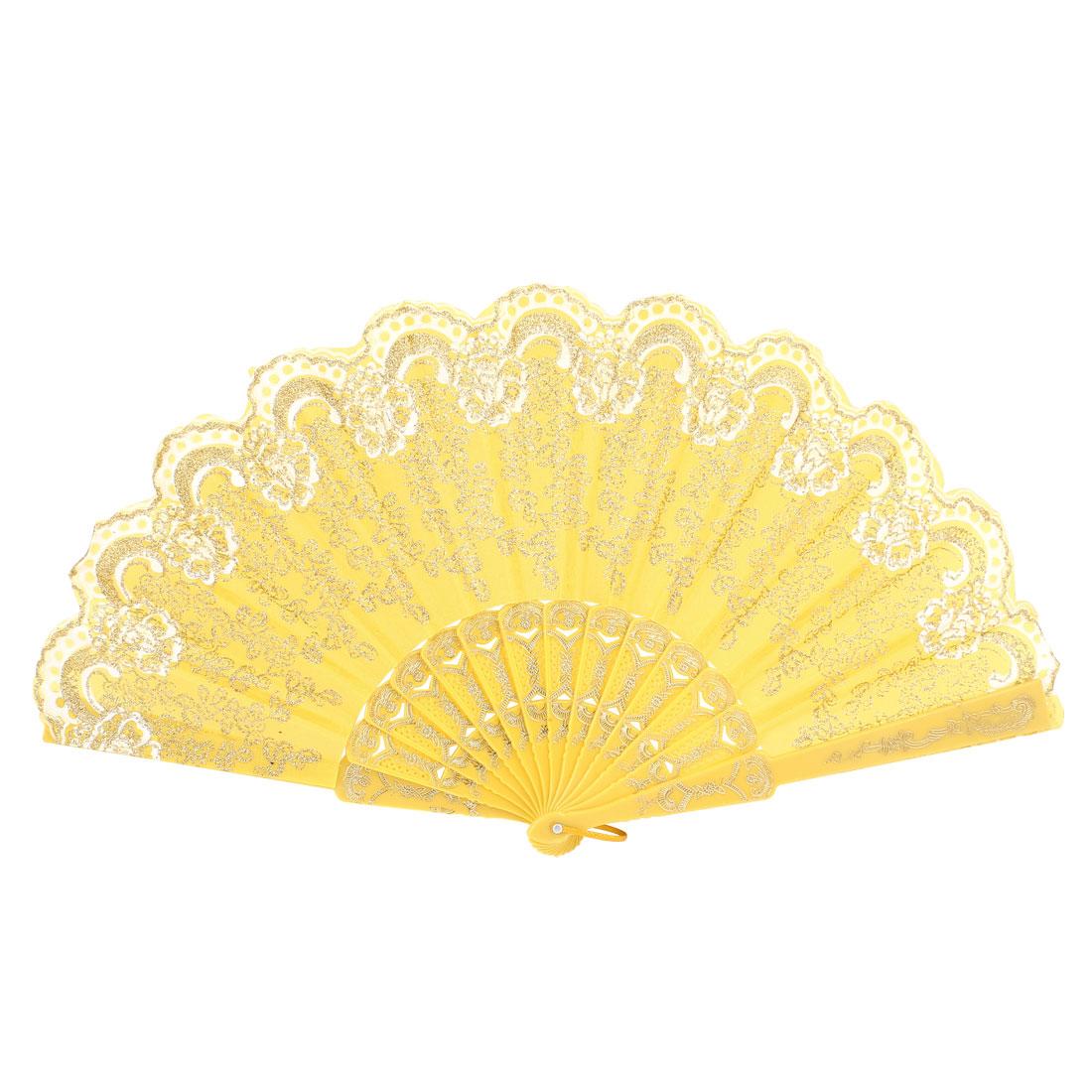 Asian Chinese Style Glitter Powder Flower Pattern Folding Hand Pocket Fan Yellow