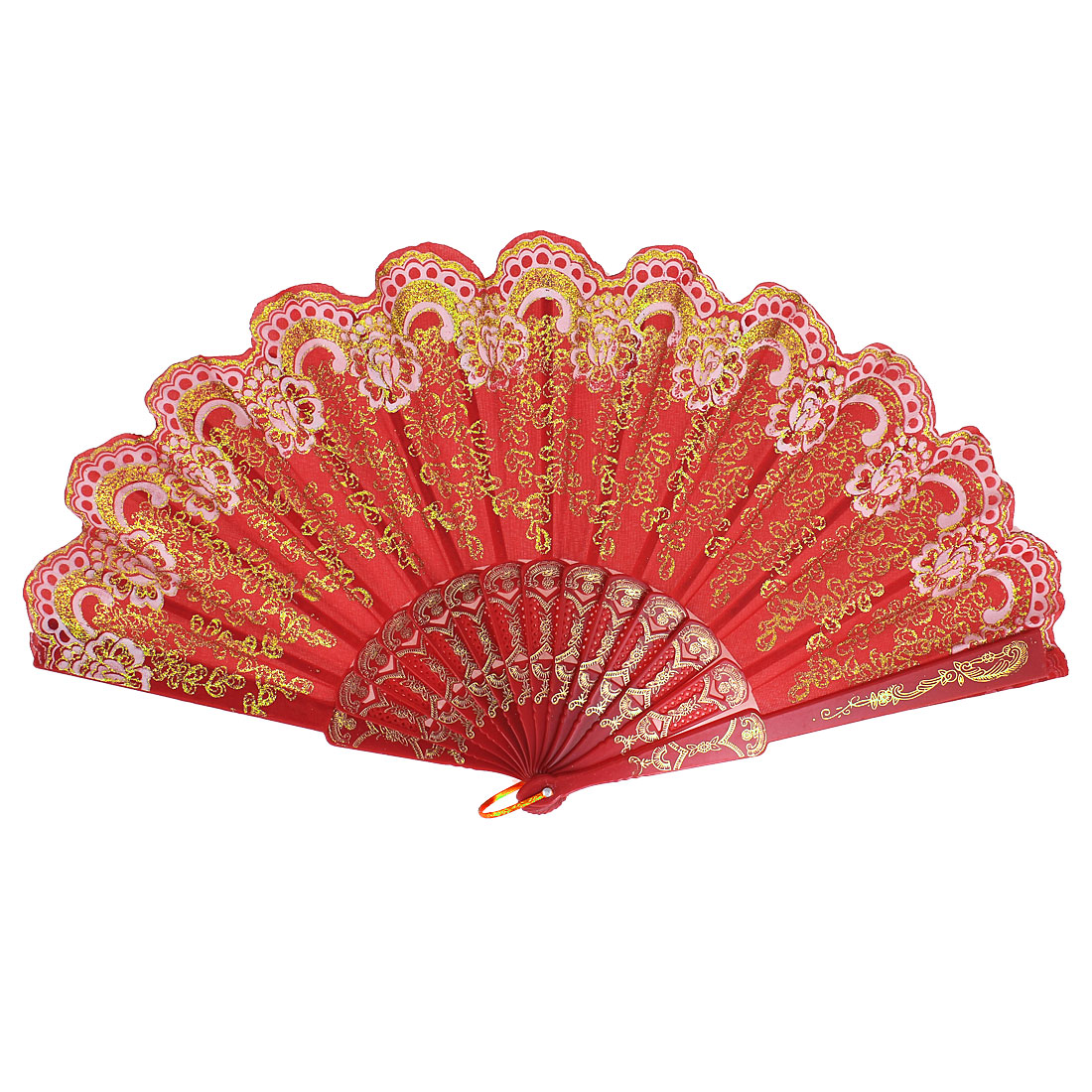 Glitter Powder Decor Flower Pattern Wedding Dance Nylon Folding Hand Fan Red