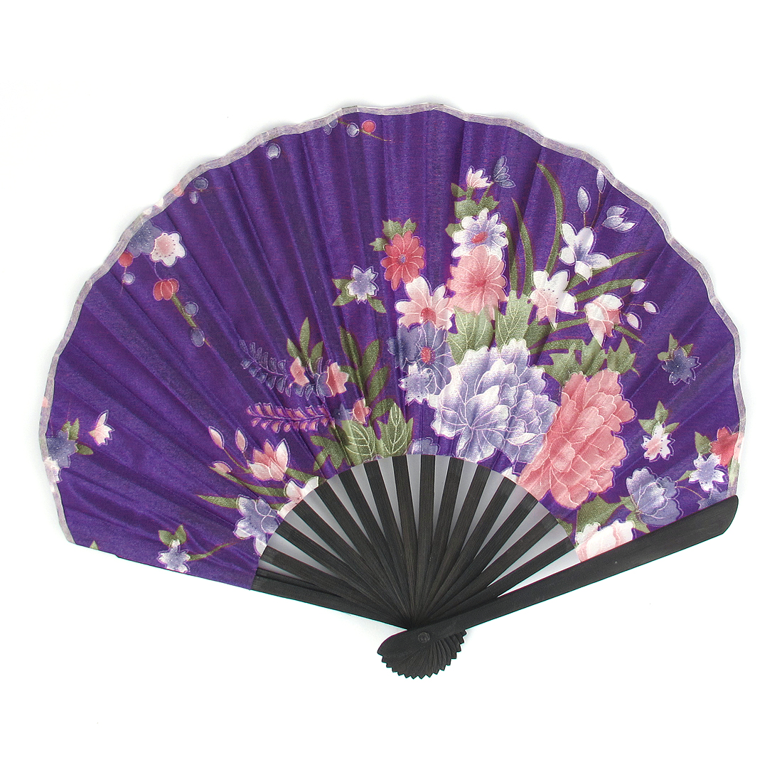 Wooden Frame Flowers Printed Dance Wedding Party Folding Hand Fan Purple