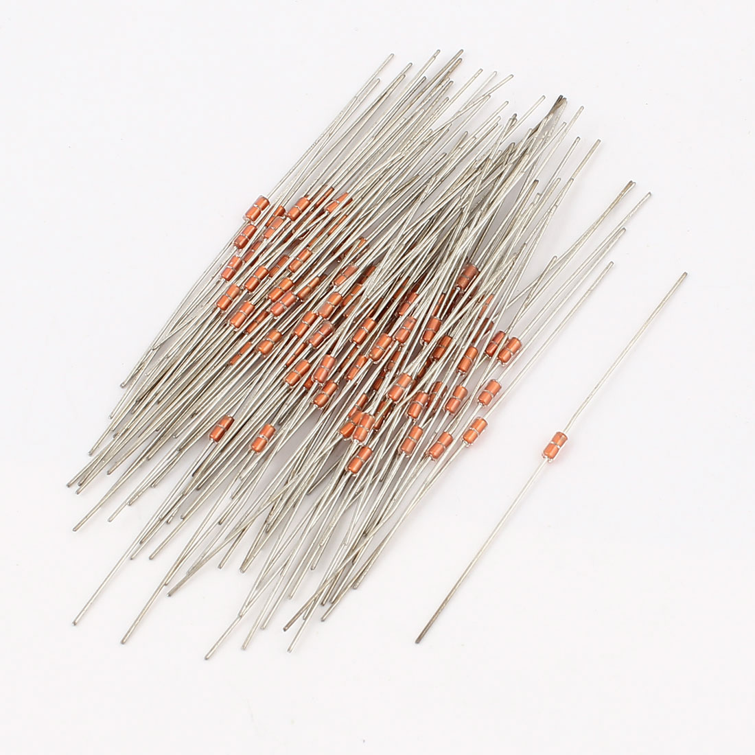 100Pcs MF58H 10K Ohm 3950 B Type Glass Sealed NTC Thermistor