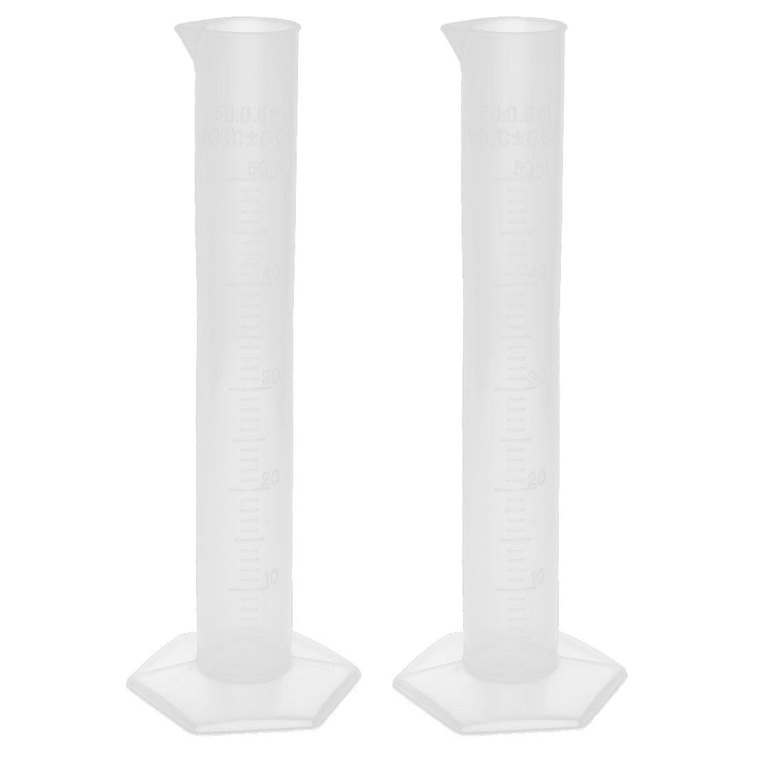 2pcs 50ml Transparent Plastic Graduated Cylinder Laboratory Lab Measuring Cup