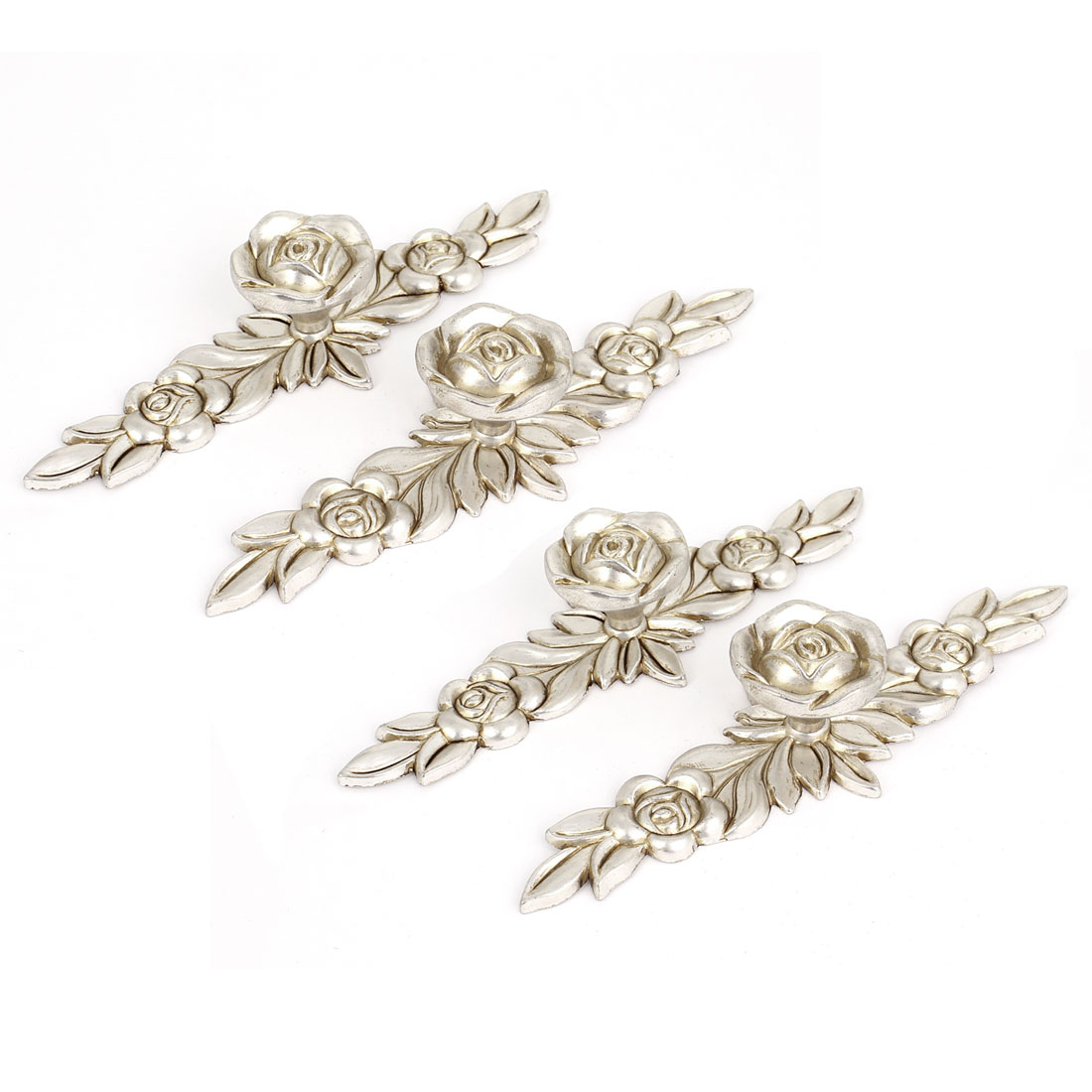 Antique Silver Rose Flower Door Knobs Dresser Cabinet Pull Handles 145mm 4pcs