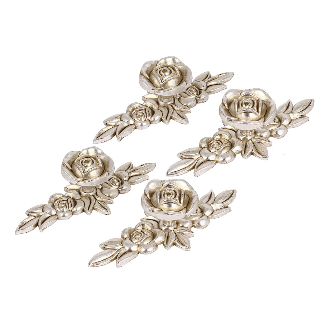 4pcs Antique Silver Rose Flower Pull Handle Bookcase Drawer Door Knobs 105mm
