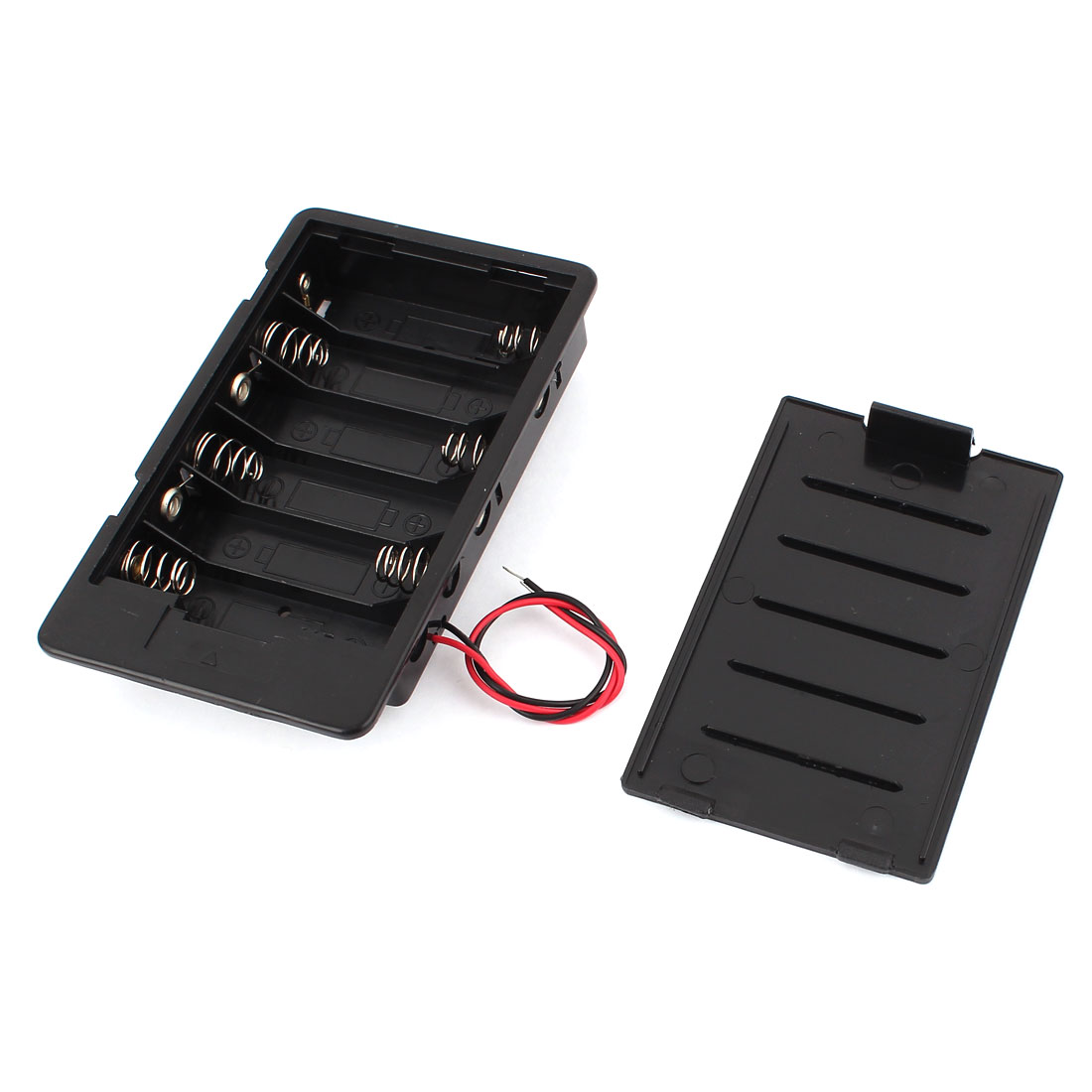 Plastic In Series 6 x AA 1.5V Battery Holder Storage Case w Cover