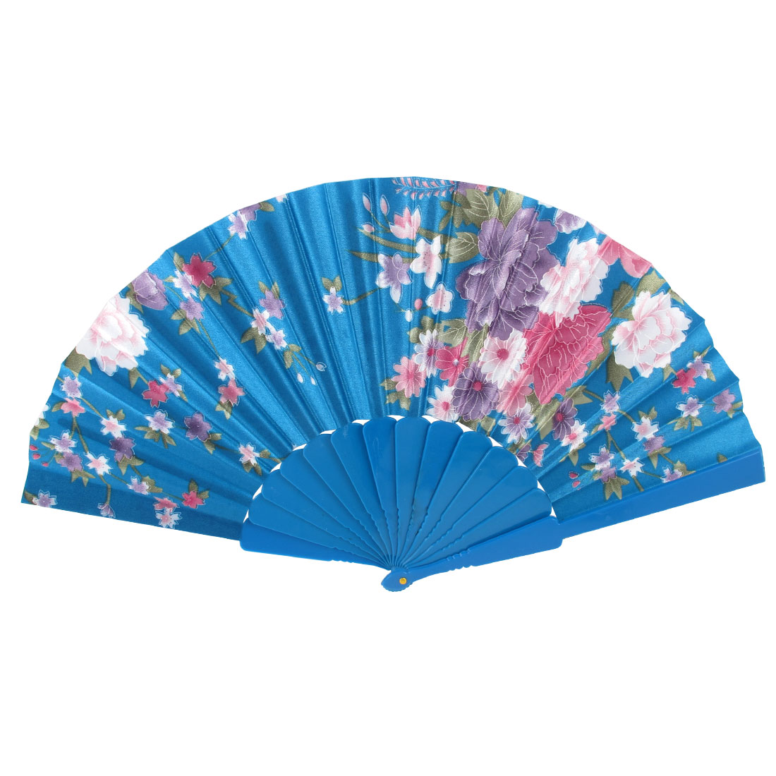 Wedding Party Plastic Rib Chinese Style Flower Pattern Folding Hand Fan Teal