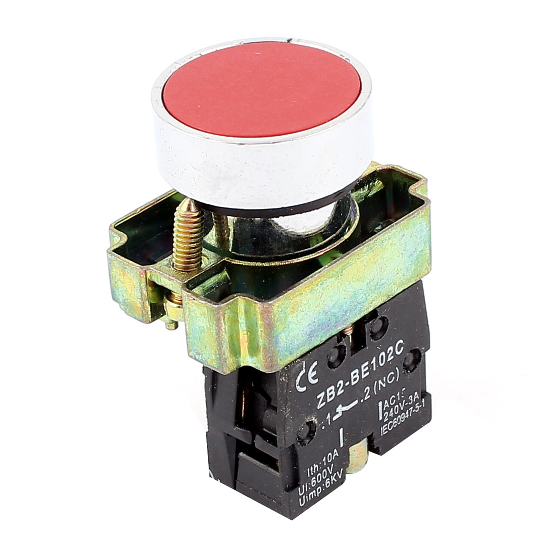 22mm Panel Mount SPST Normally Closed Momentary Push Button Switch Red
