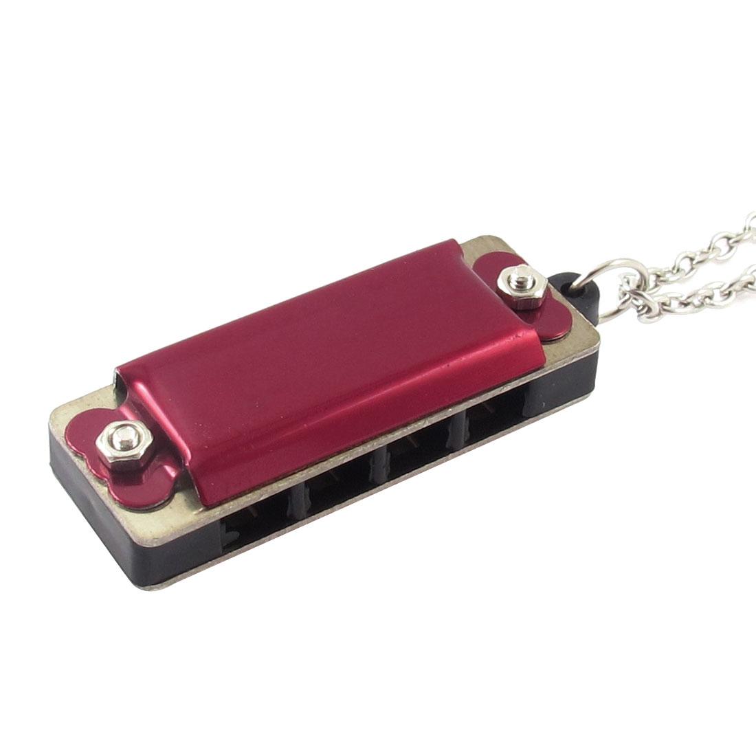 Mini Red Harmonica Pendant Lobster Clasp Silver Tone Chain Necklace
