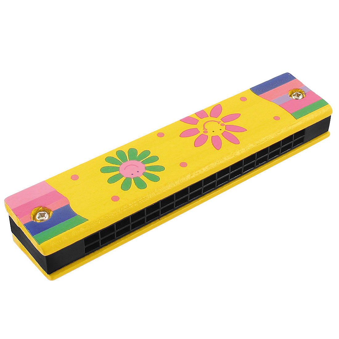 Smile Face Print Wood Dual Rows 32 Hole Harmonica Mouth Organ Yellow