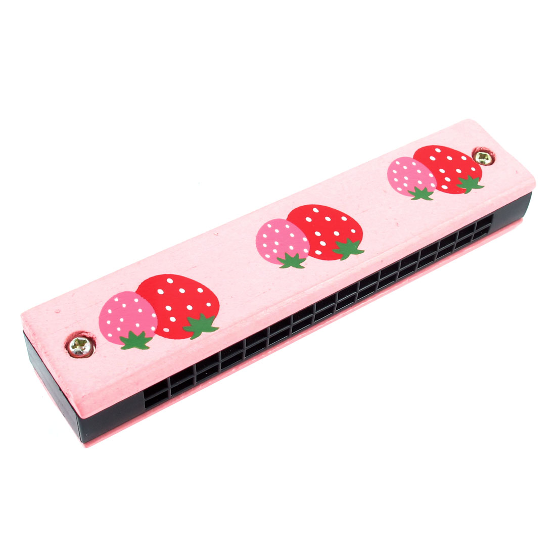 Two Blueberries Print Wood Dual Rows 32 Hole Harmonica Mouth Organ Pink