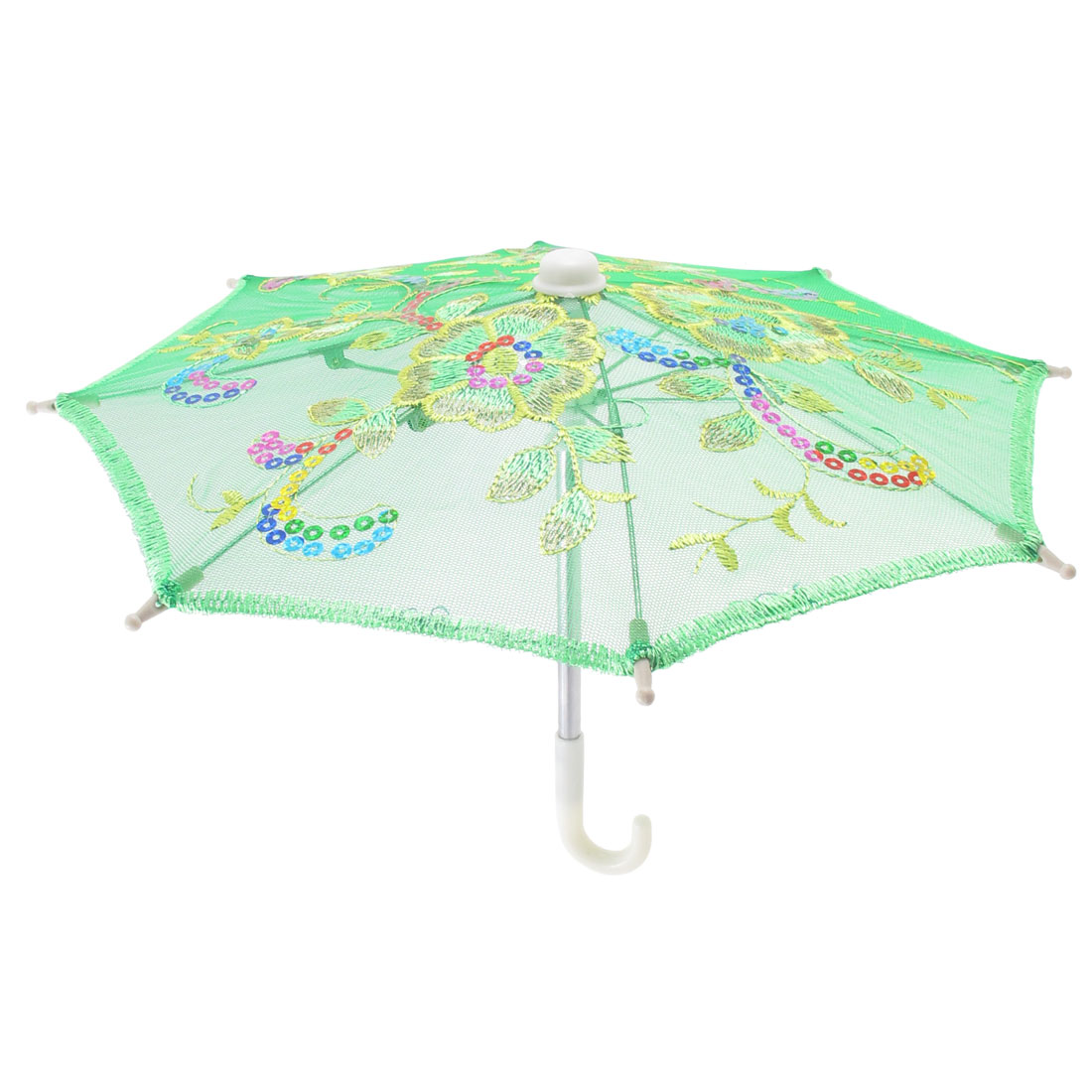 Green Embroider Flower Pattern Foldable Mini Lace Umbrella Parasol for Child