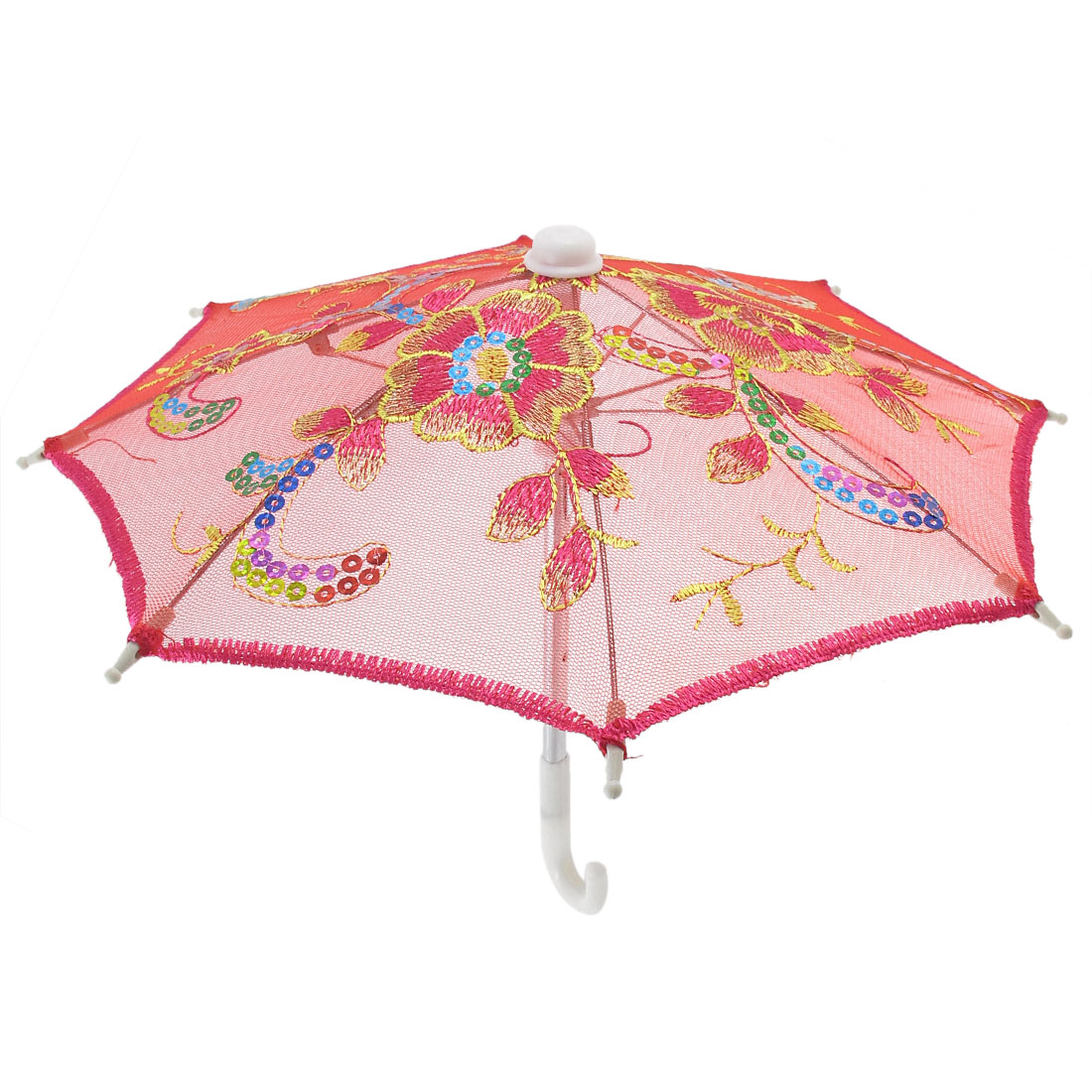 Red Embroider Flower Pattern Foldable Child Mini Lace Umbrella Parasol