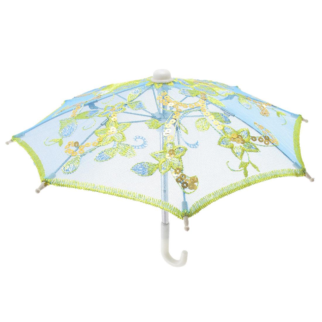 Blue Embroider Flower Pattern Foldable Mini Lace Umbrella Parasol