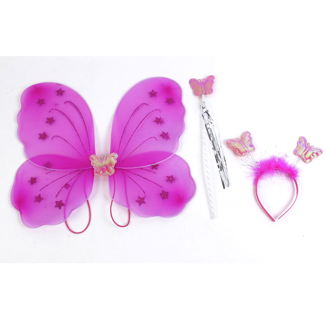 Girls Butterfly Fairy Angel Wings Wand Boppers Set Party Fancy Dress Fuchsia
