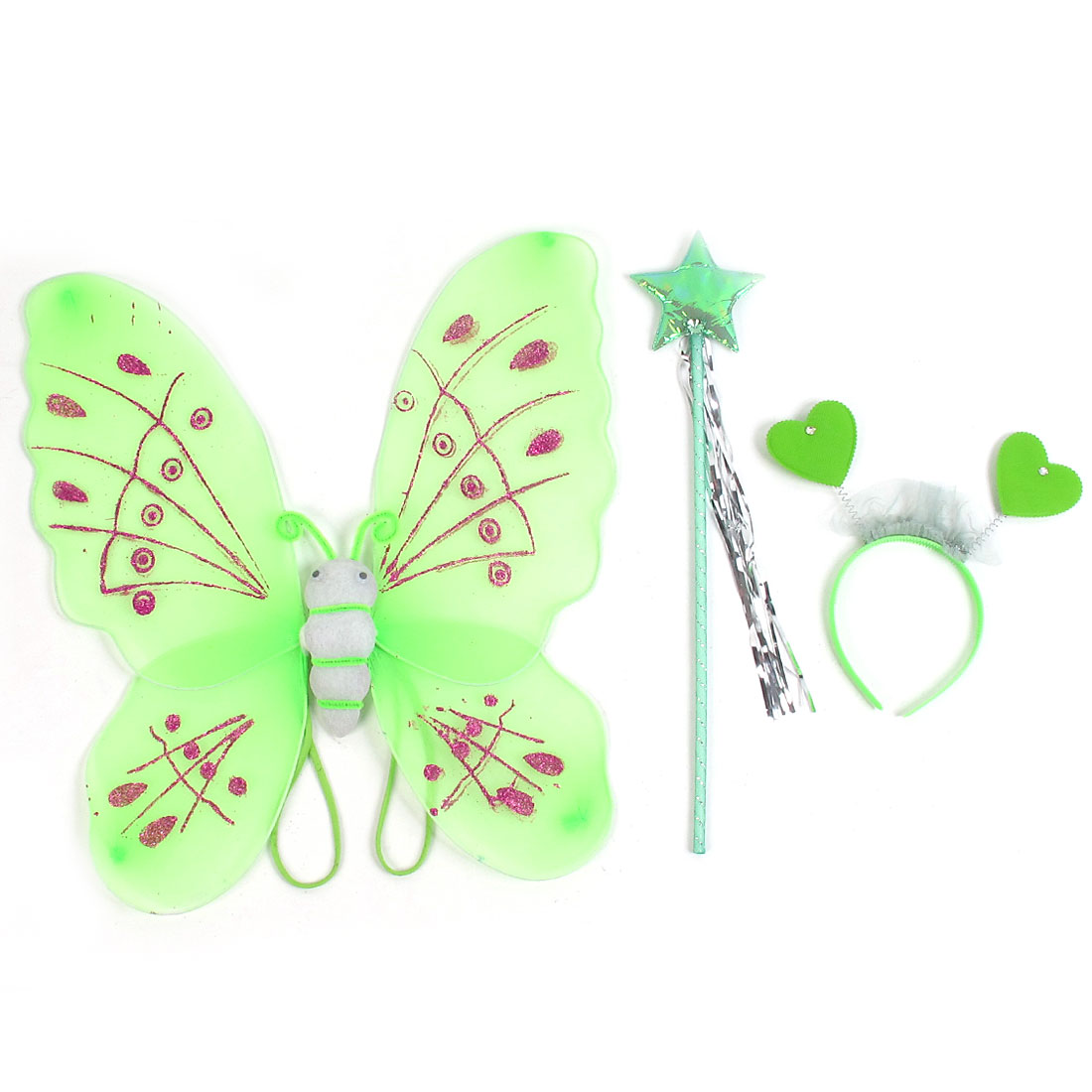 Girls Butterfly Fairy Angel Wings Wand Boppers Set Party Fancy Dress Green