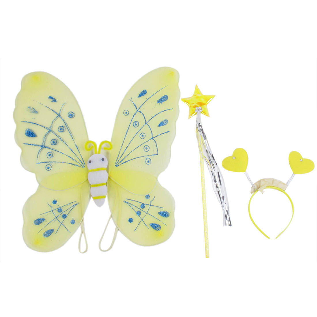 Girls Butterfly Fairy Angel Wings Wand Boppers Set Party Fancy Dress Yellow