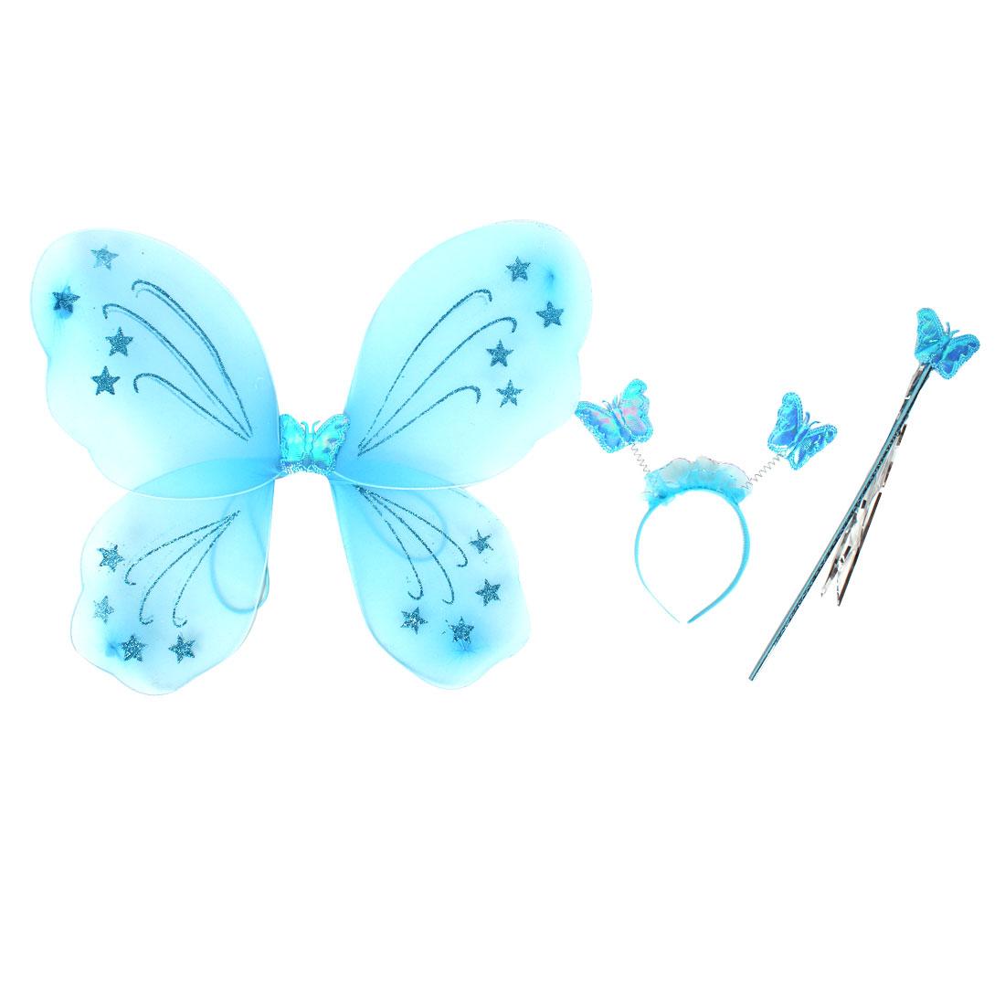 Girls Costume Butterfly Fairy Angel Wings Wand Set Party Fancy Dress Blue