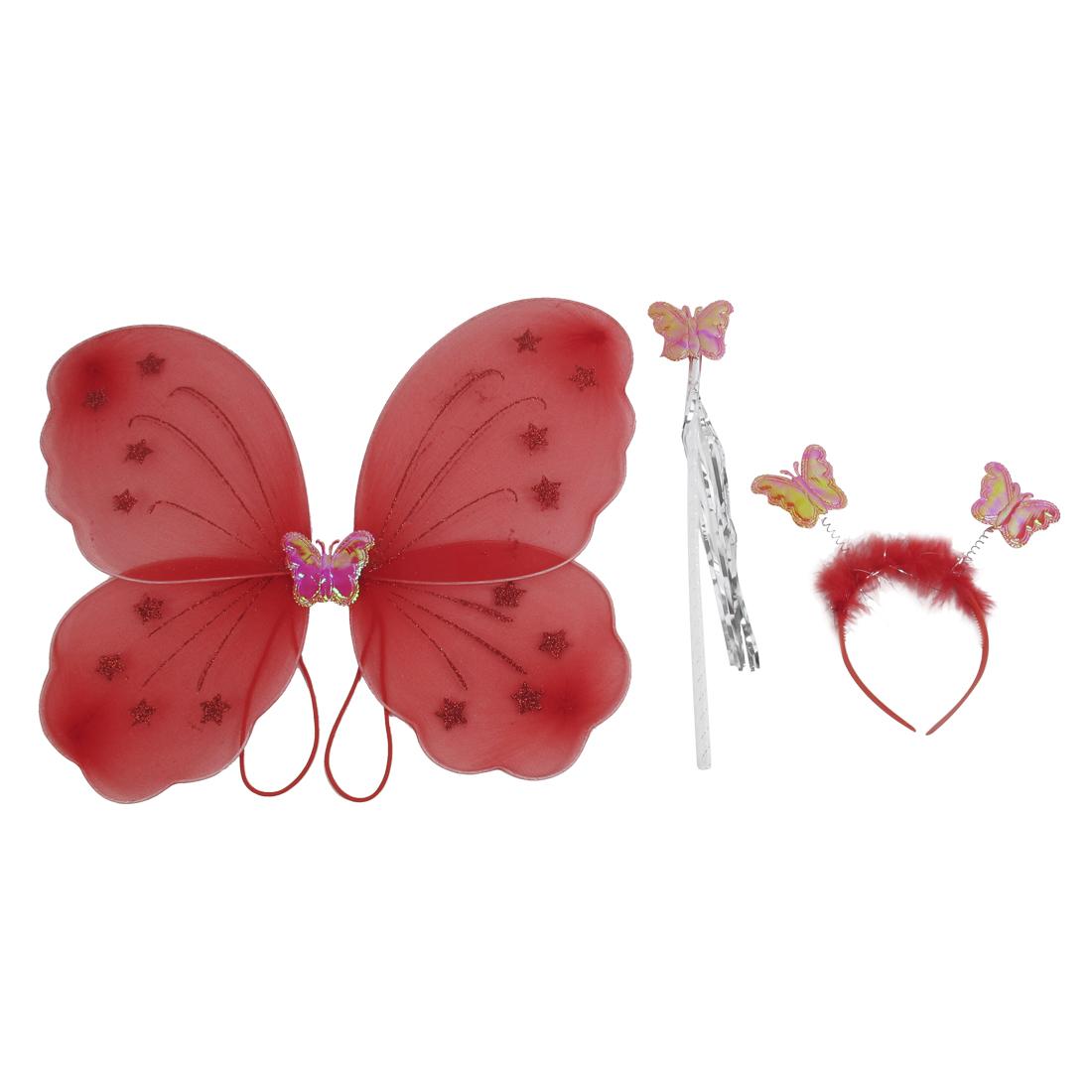 Girls Butterfly Fairy Angel Wings Wand Boppers Set Party Fancy Dress Red