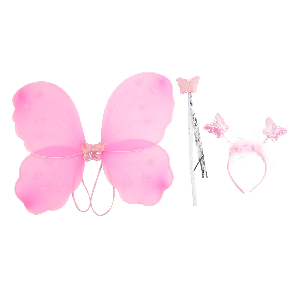 Girls Butterfly Fairy Angel Wings Wand Boppers Set Party Fancy Dress Pink