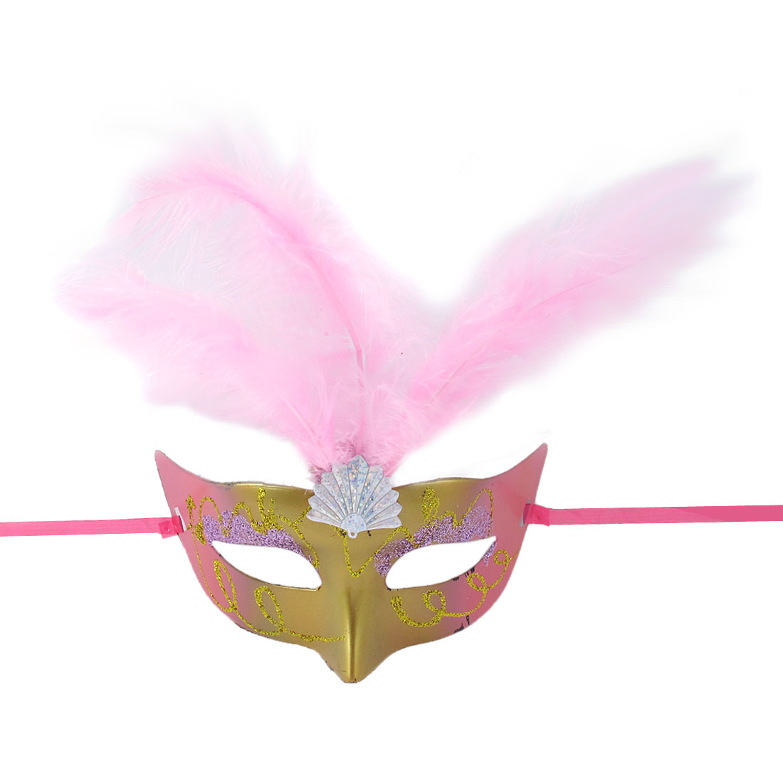 Ladies Nylon Self Tie Pink Feather Decor Plastic Dancing Party Eye Mask