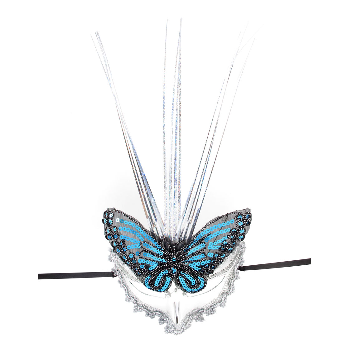 Ladies Self Tie Butterfly Decor Plastic Dancing Party Eye Mask Silver Tone