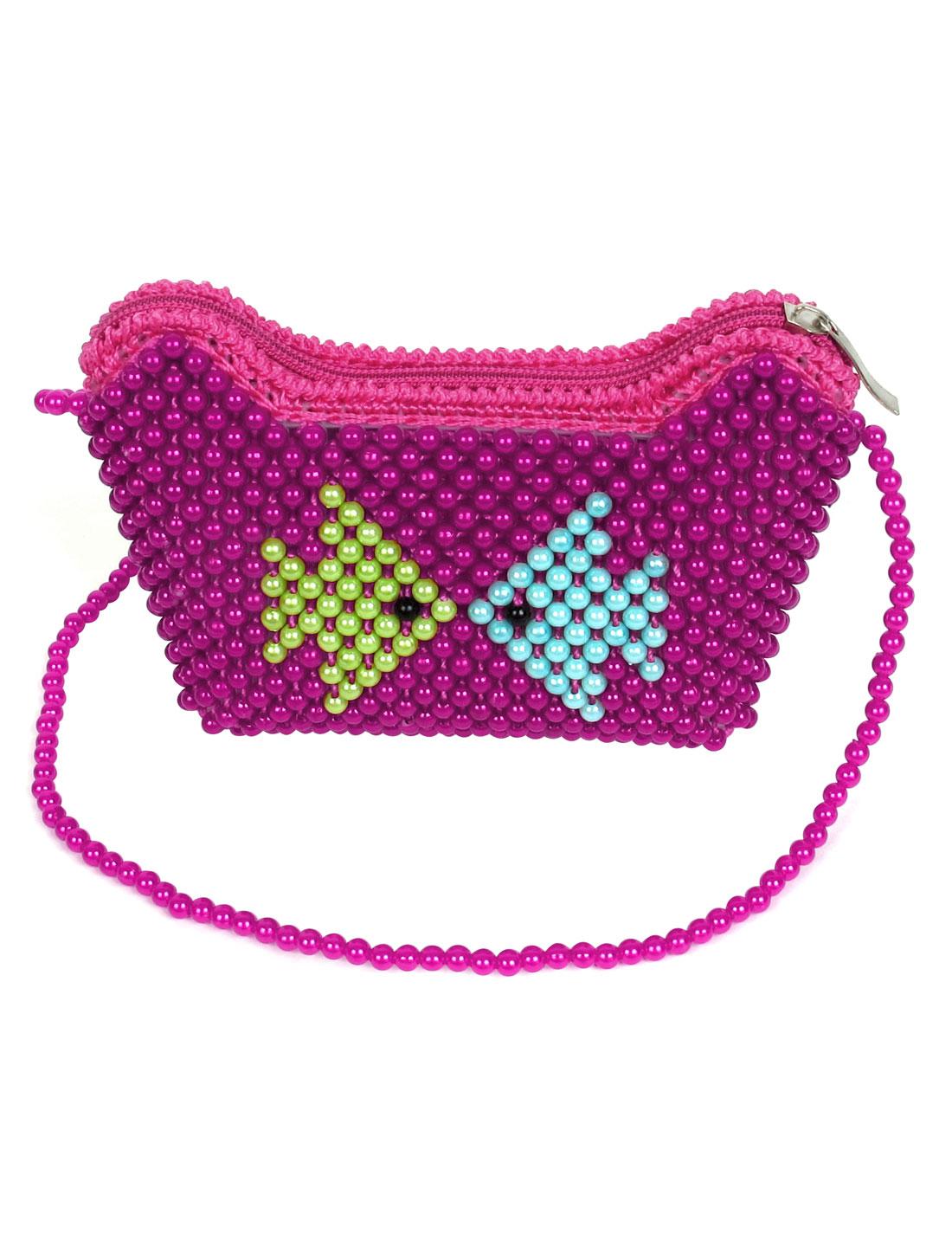 Handmade Zip Up Women Lady Fuchsia Faux Pearl Covered Bag Tote Handbag