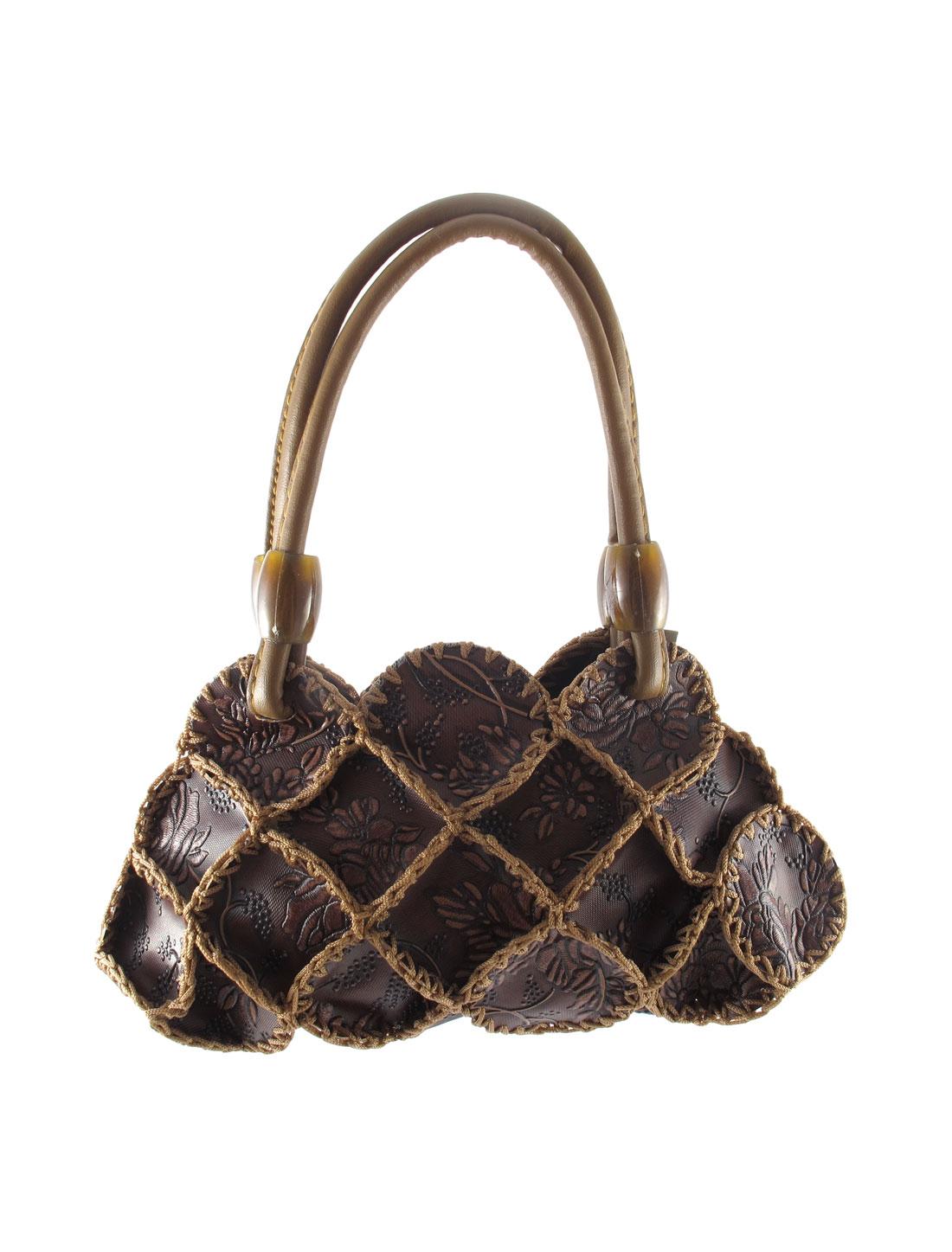 Lady Faux Leather Braided Flowers Detail Satchel Bag Handbag Coffee Color