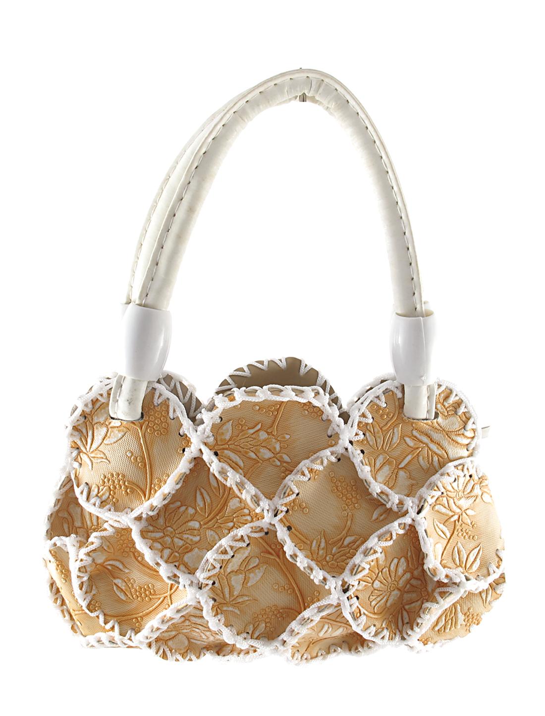 Lady Faux Leather Braided Flowers Detail Satchel Bag Handbag Orange