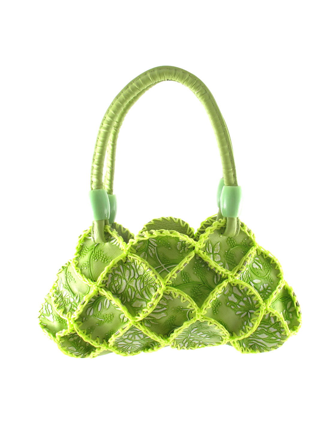 Lady Faux Leather Braided Flowers Detail Handmade Satchel Bag Handbag Green