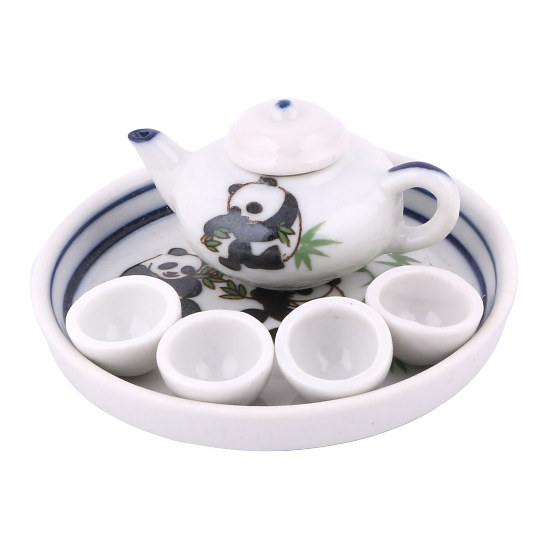Home Ceramic Pandas Bamboo Printed Mini Plate Teapot Cup Tea Set