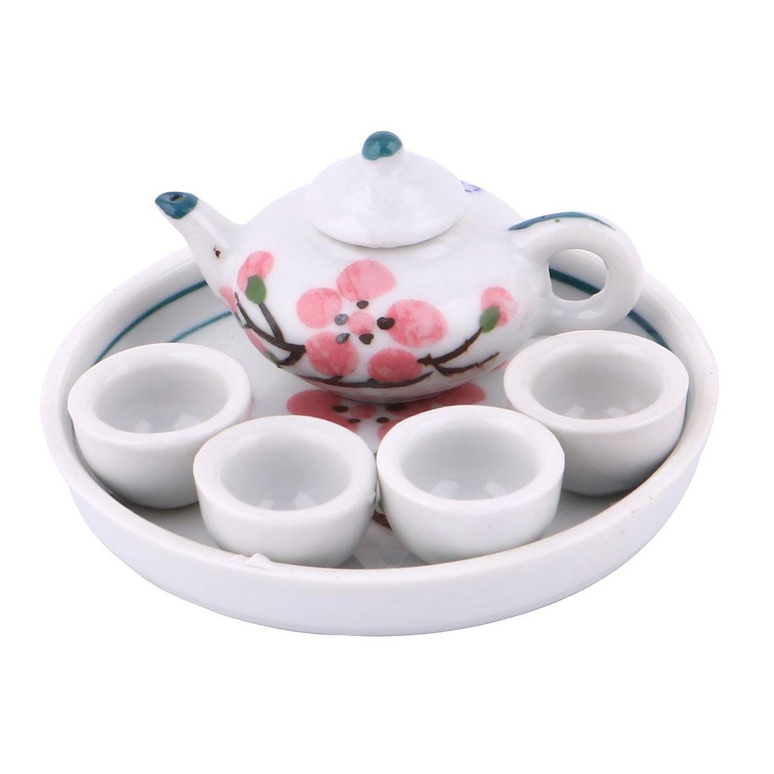 Home Ceramic Plum Blossom Printed Mini Plate Teapot Cup Tea Set
