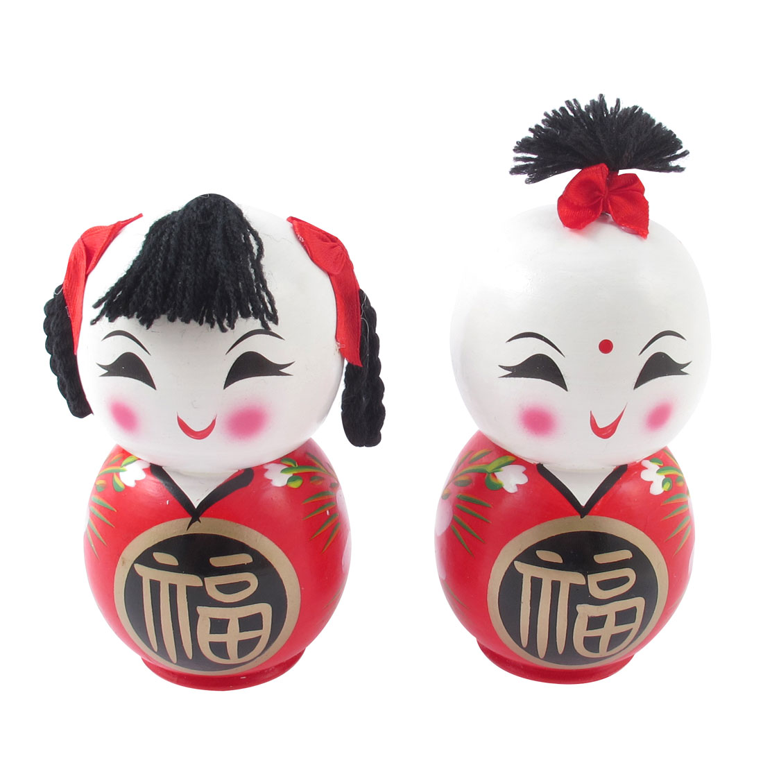 Wooden China Traditional Good Luck Boy Girl Doll Desktop Decor Gift
