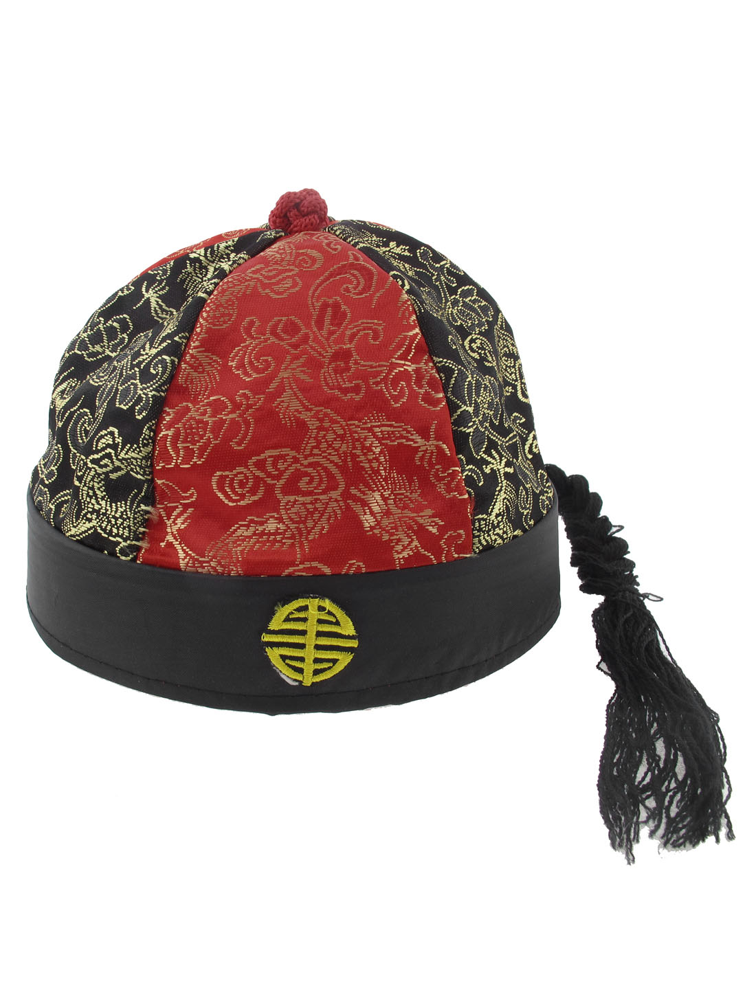 Chinese Landlord Oriental Asian Hat Cap Party Costume Black Red with Ponytail
