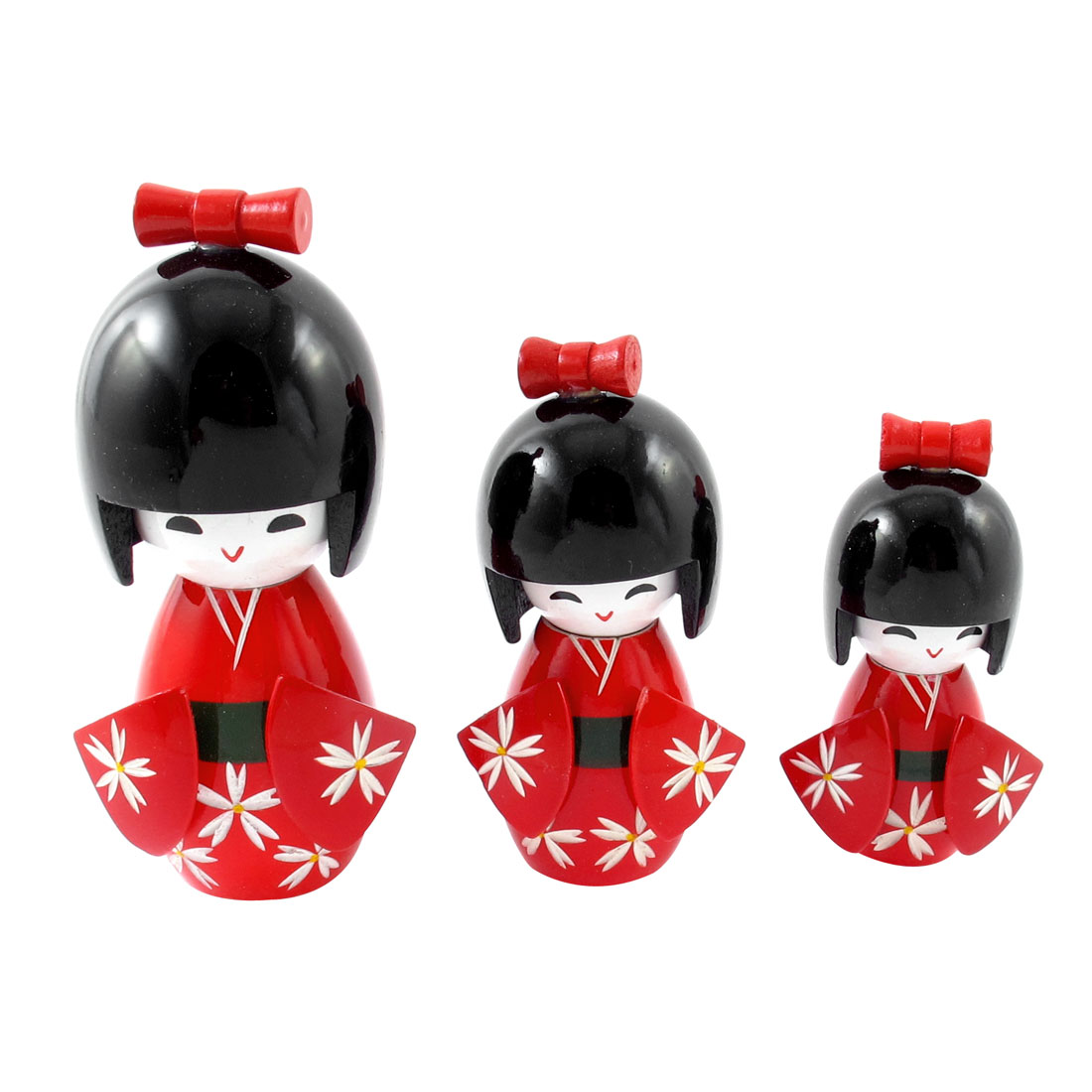 3Pcs Red Black Wooden Japanese Doll Desk Desktop Decoration