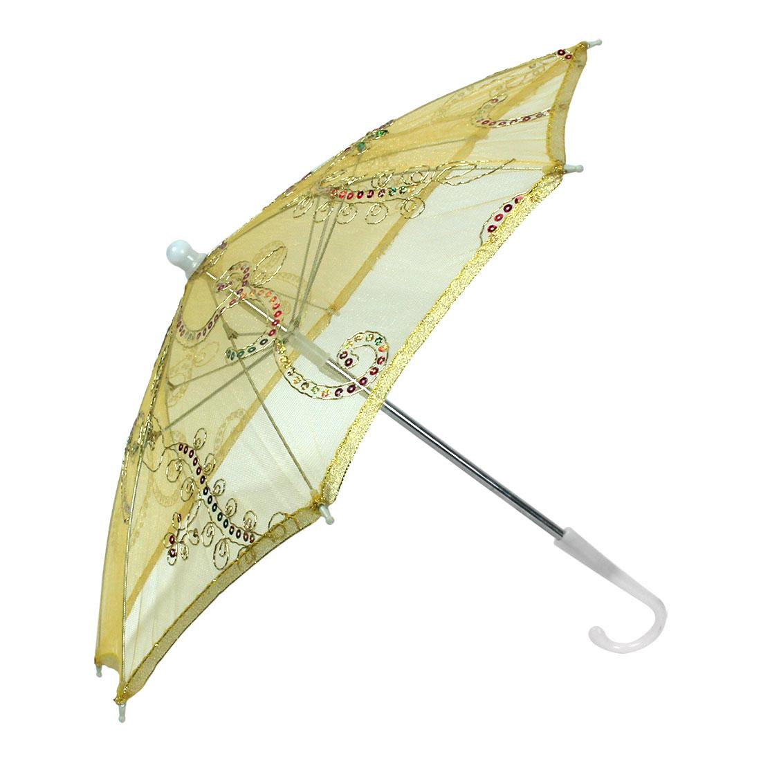 Sequin Decor Gold Tone Edge Flower Pattern Yellow Mini Lace Parasol Umbrella