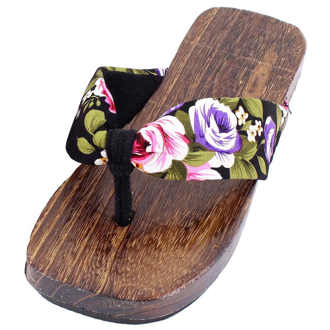 Lady Rubber Outsole Floral Print Purple Strap Getas Clogs Flip Flops US6 Pair