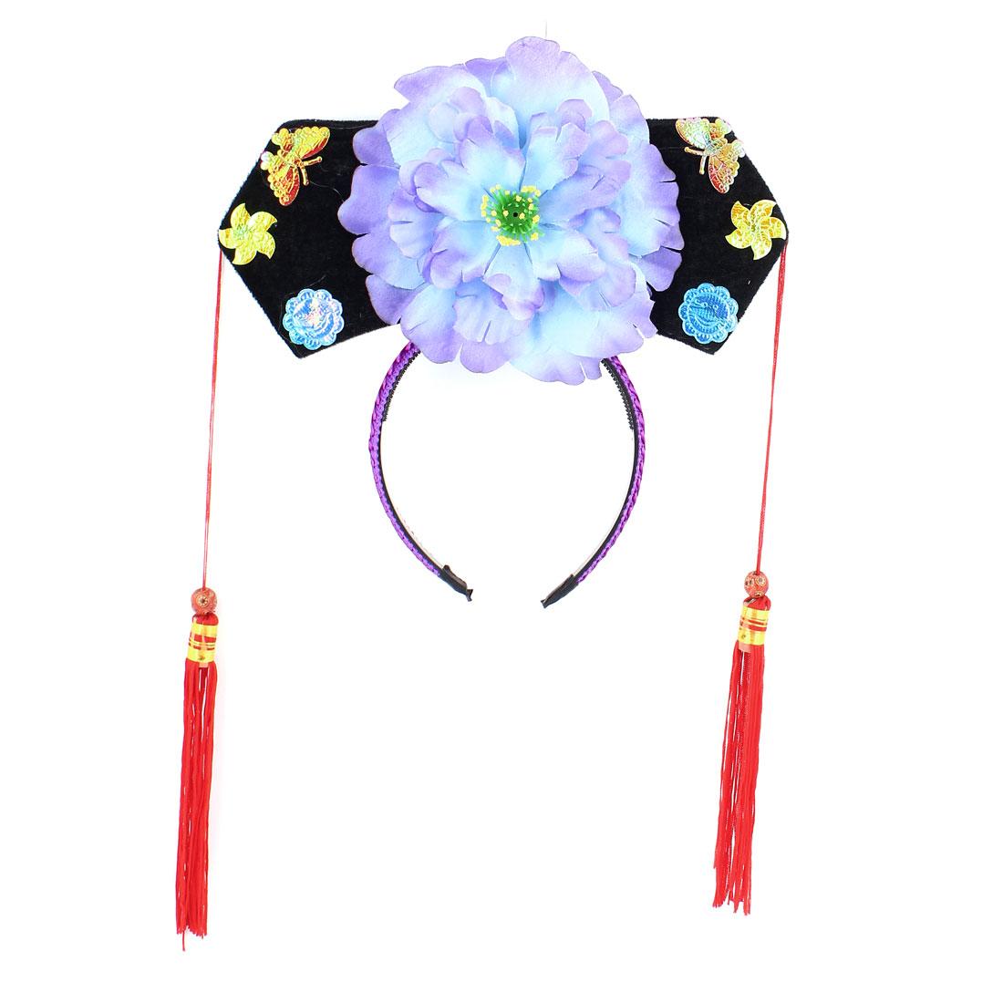 Girls Tassels Blue Peony Flower Decor Purple Edge Band Oriental Chinese Princess Hairband Hat Headdress Headband