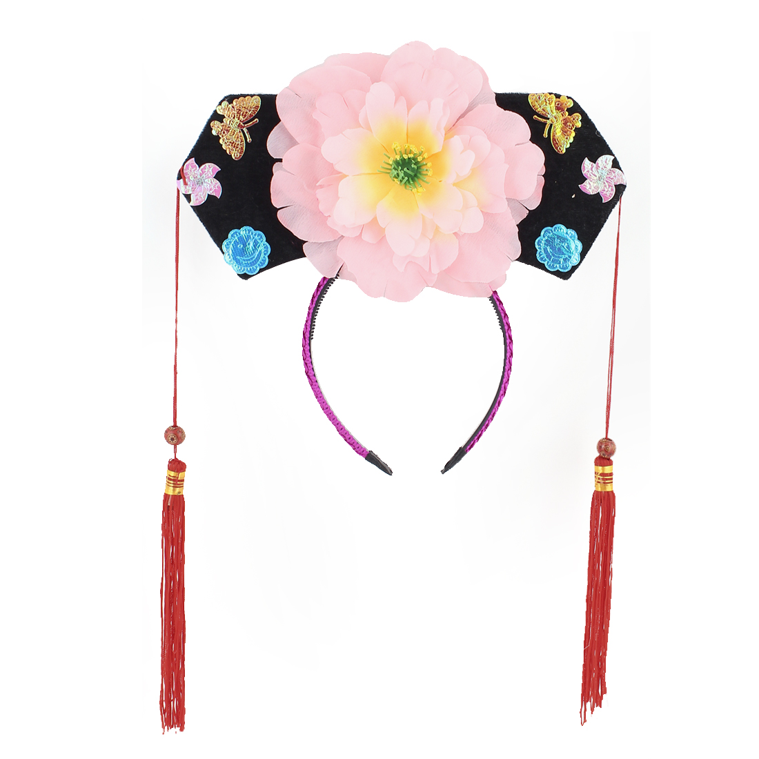 Girls Pink Yellow Peony Decor Oriental Traditional Chinese Princess Hairband Hat Headdress Headband