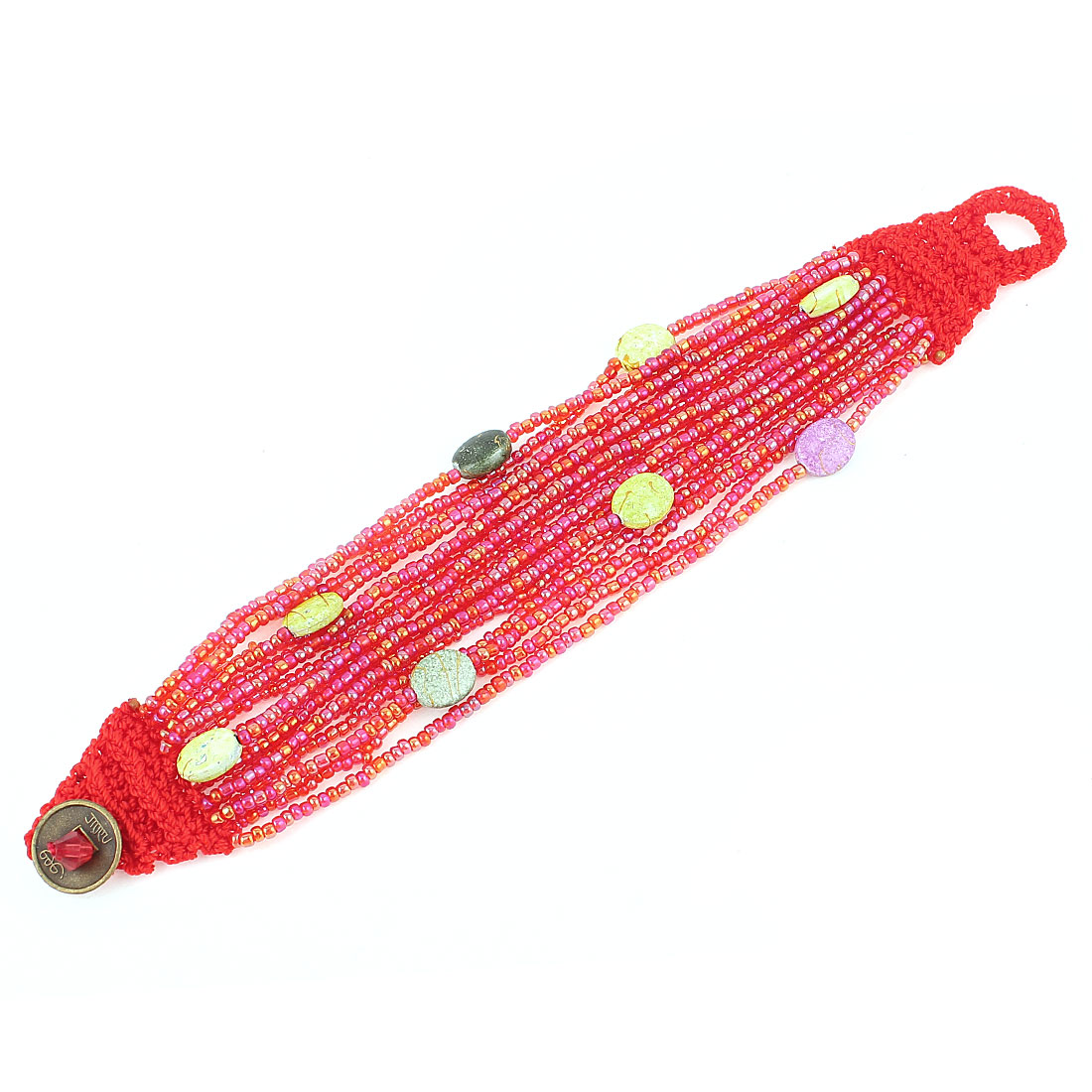 "Knitting Detailing Button Closure Multilayer Beaded Bracelet Bangle Red 18cm 7"" for Women"