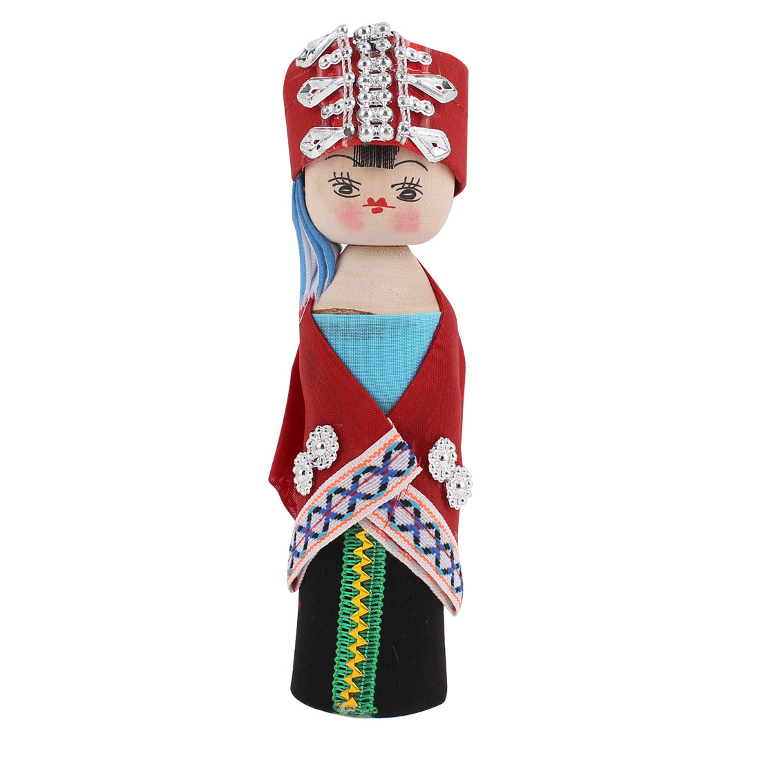 Silver Tone Headdress Red Cloth Chinese Minority Woman Costume Wooden Doll 17cm Height